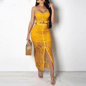 Other - Mustard floral lace skirt set